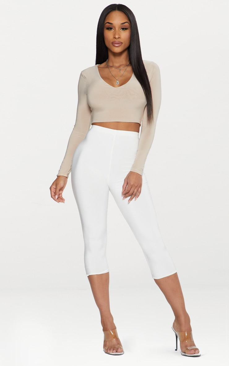 Stone Second Skin Long Sleeve V Neck Crop Top  4