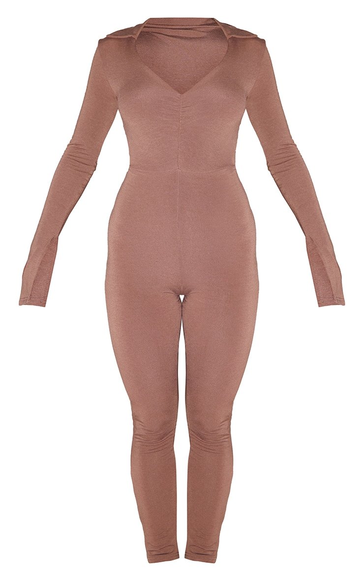 Recycled Chocolate Contour Jersey Collar Detail Split Cuff Jumpsuit 5
