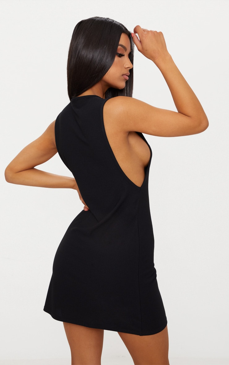 Basic Black High Neck Drop Arm Shift Dress 2