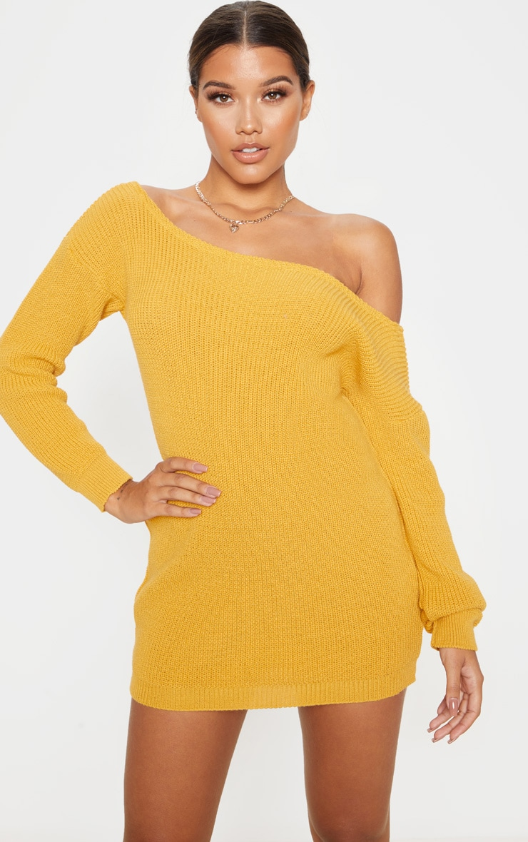 Mustard Off The Shoulder Knitted Dress 1