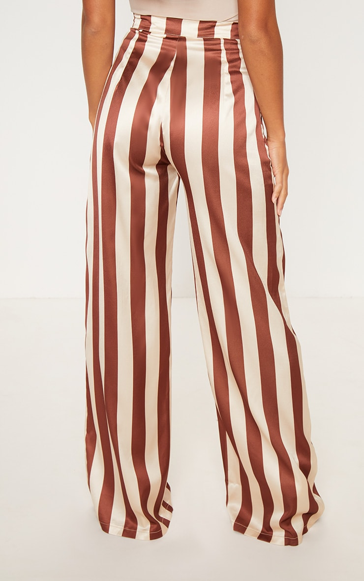 Petite Brown Stripe Wide Leg Pants 4