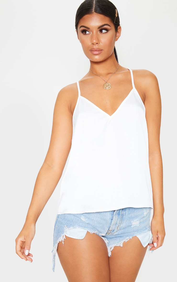 Cream Satin V Neck Cami 1