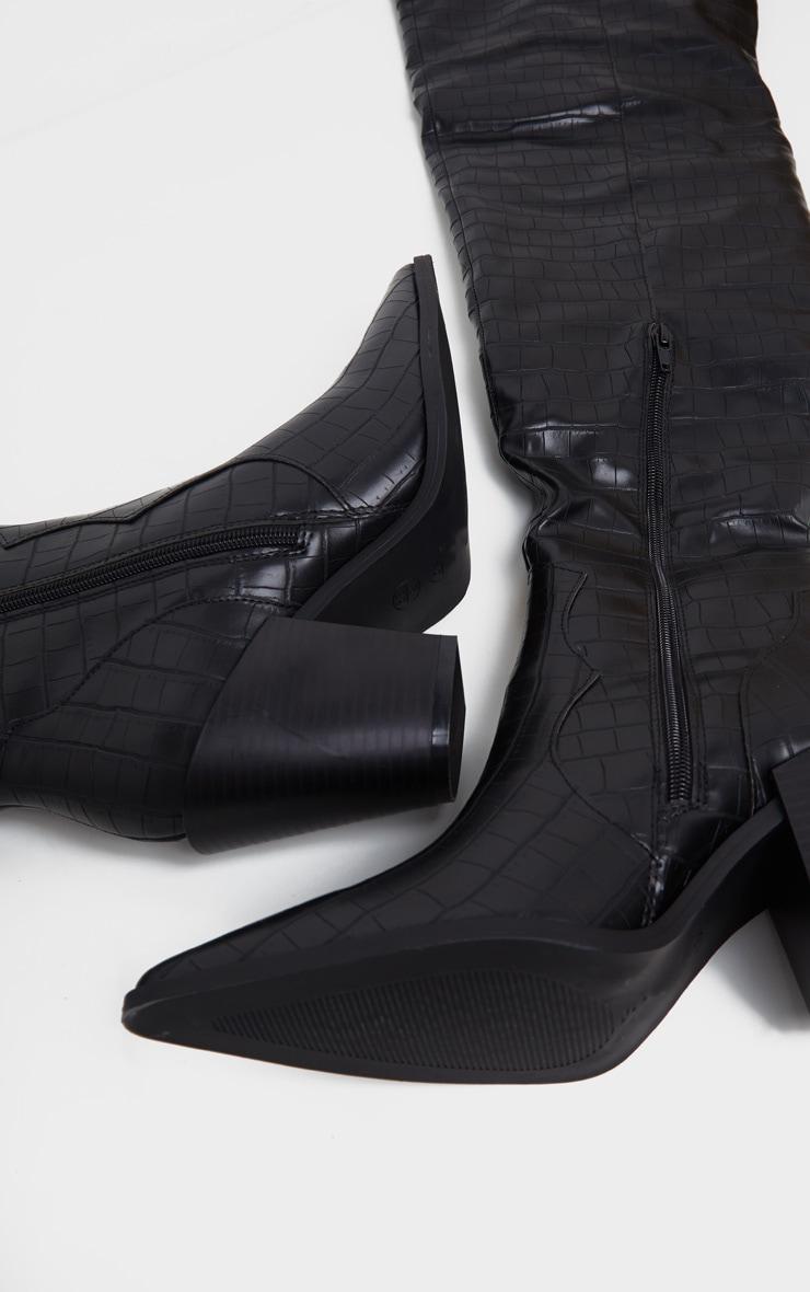 Black Croc Over The Knee Western Heel Point Toe Boot 3