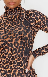 Brown Leopard Print Ribbed Long Sleeve High Neck Bodycon Dress 4