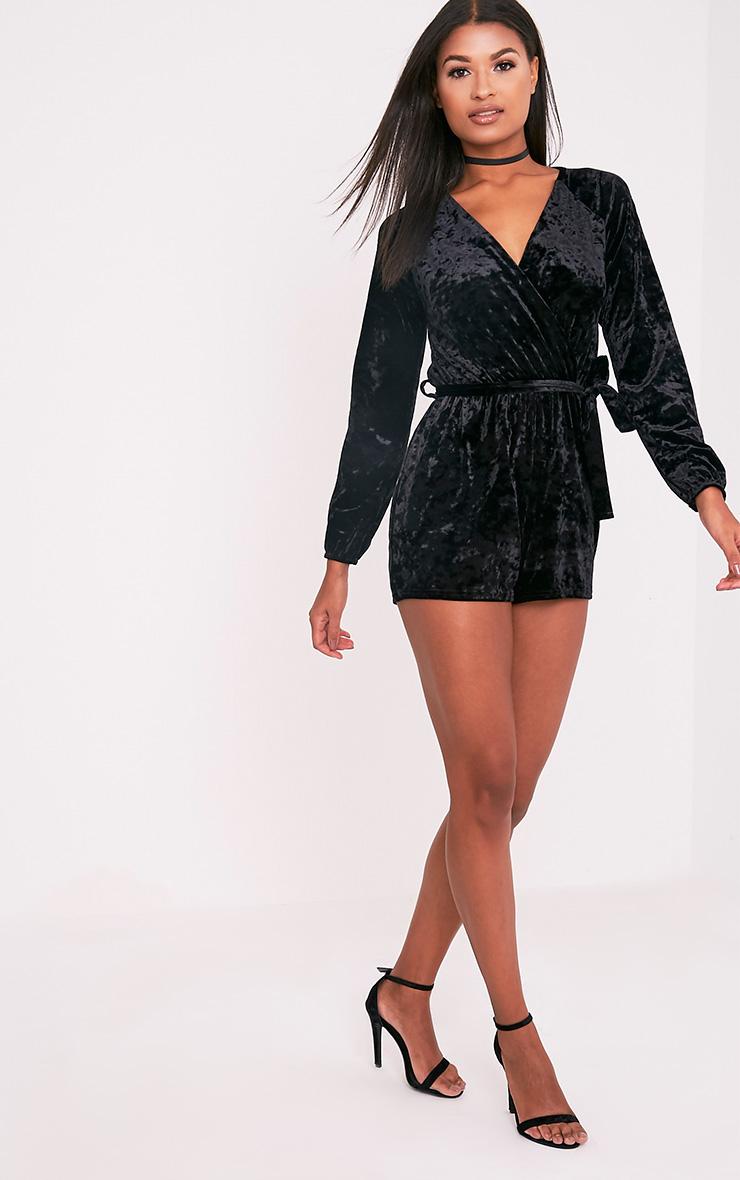 Caralea Black Crushed Velvet Wrap Front Playsuit 5