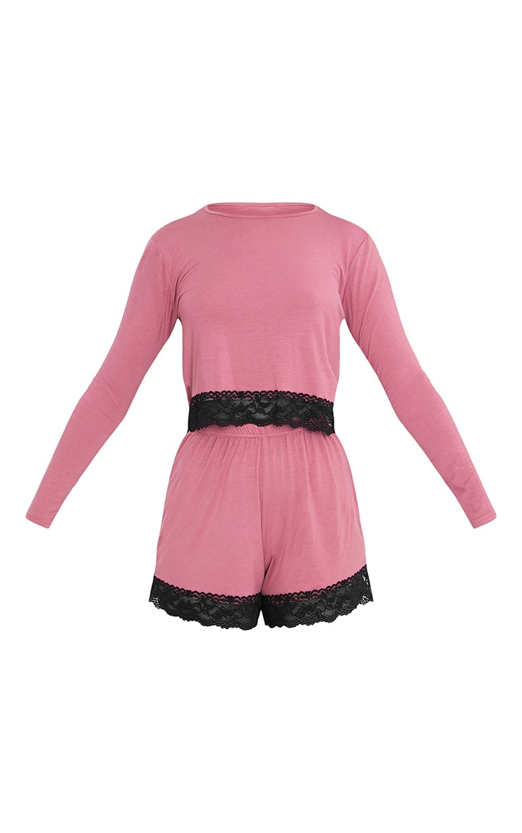 Georgie-May Rose Eyelash Lace Trim Jersey Short PJ Set 3
