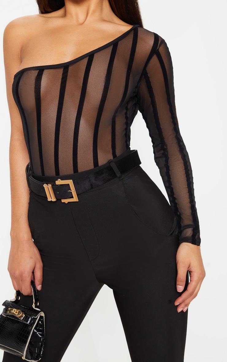 Black One Shoulder Mesh Velvet Stripe Bodysuit 6