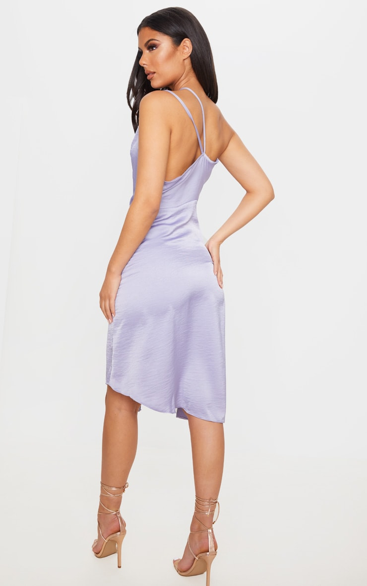 Lilac One Shoulder Double Strap Midi Dress 2