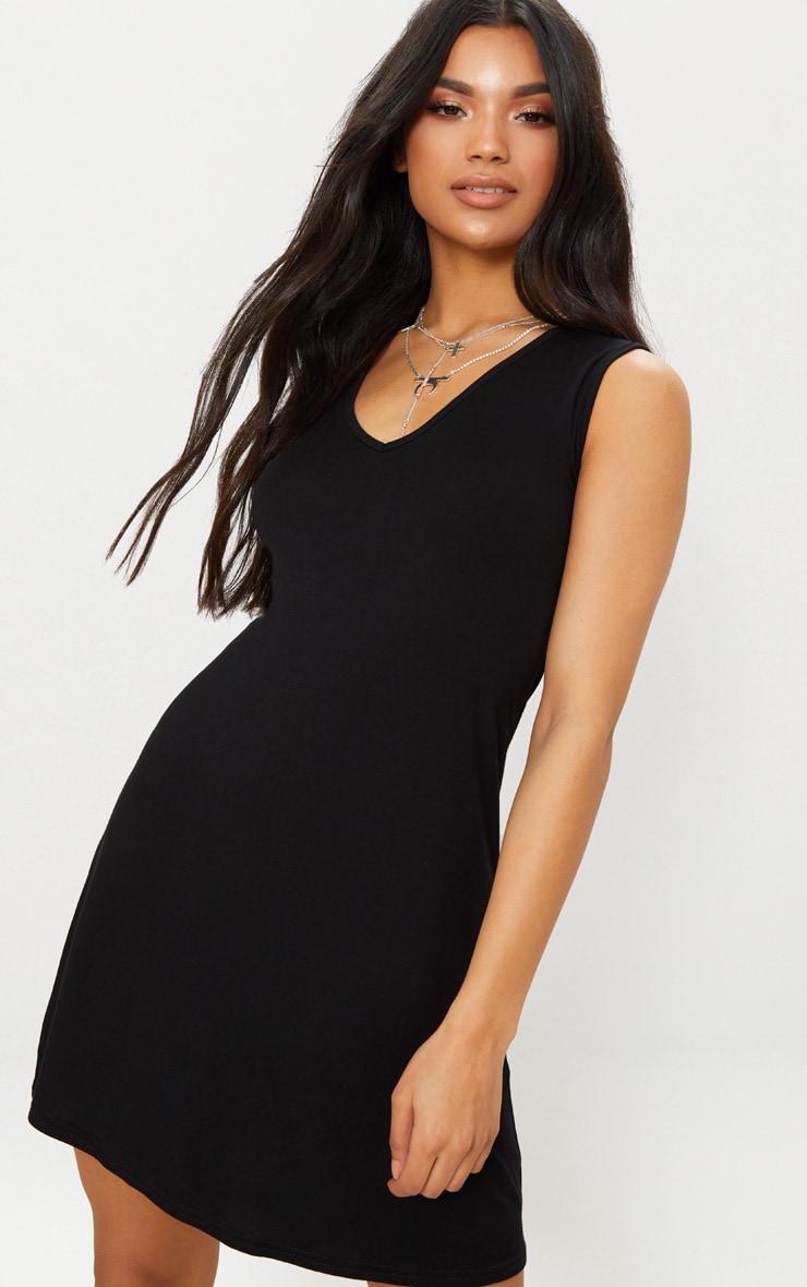 Black Jersey V Plunge Sleeveless Shift Dress  5