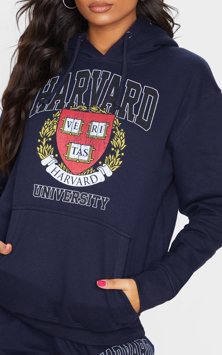 Navy Harvard Slogan Hoodie 4