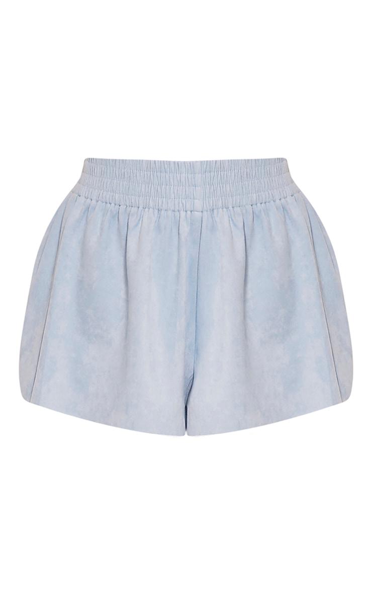 Lettie Baby Blue Faux Suede Elastic Waist Shorts 3