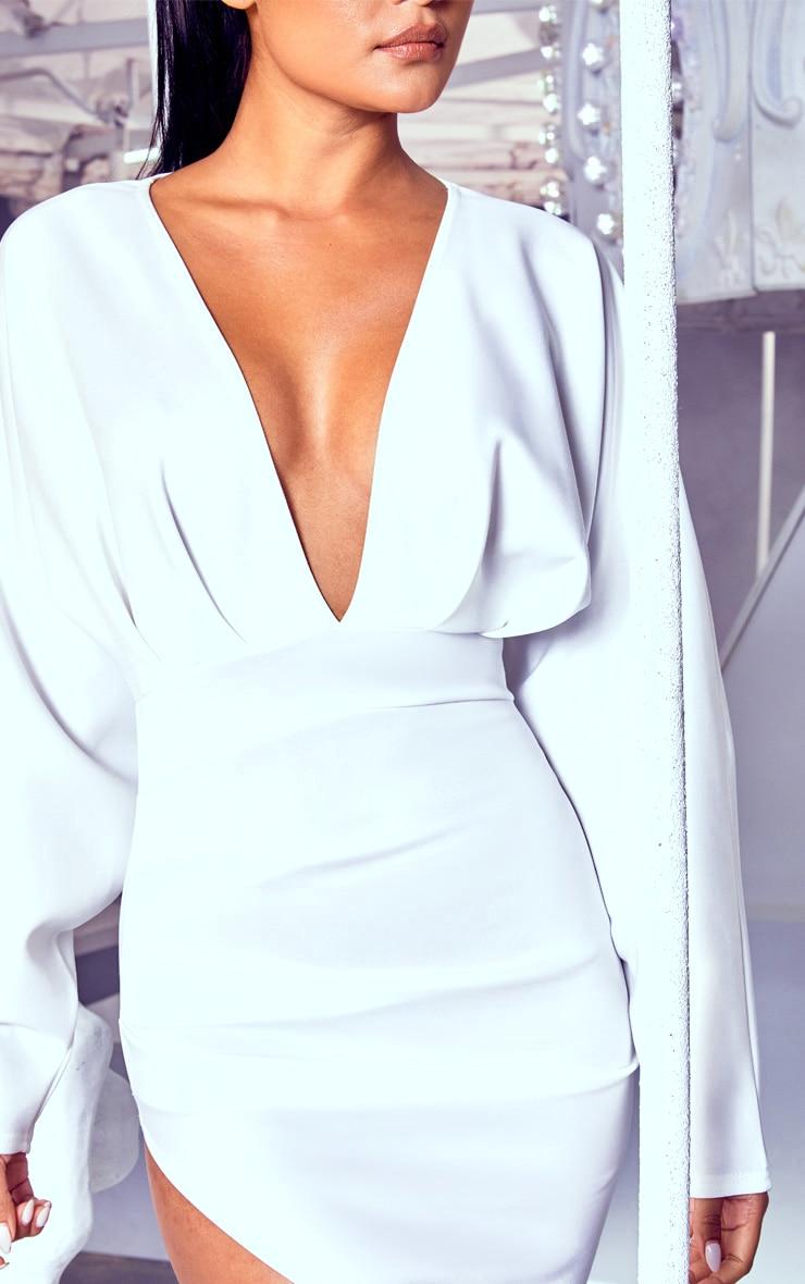 White Pleated Balloon Sleeve Bodycon Dress 5