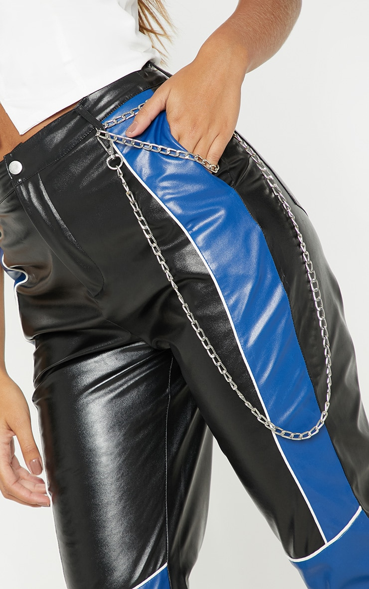 Black Faux Leather Contrast Panel Skinny Trouser  5