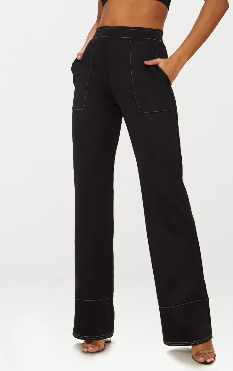 Black Contrast Stitch Trousers 2