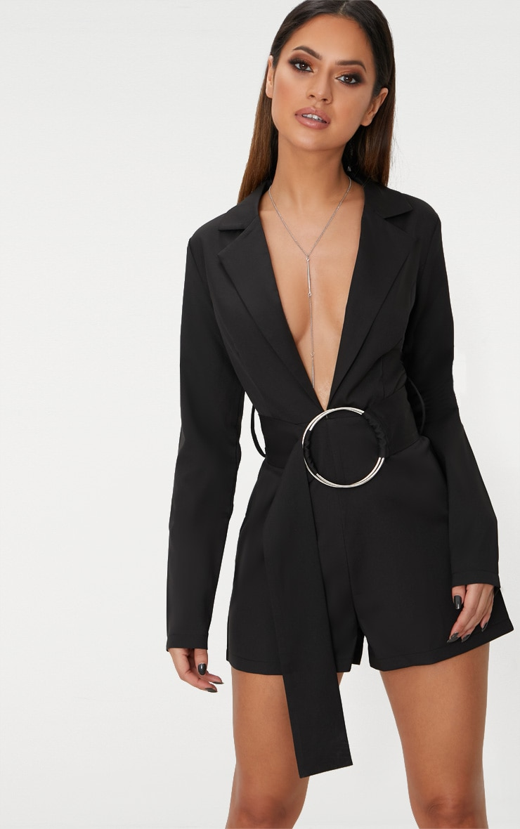 Black Tux Long Sleeve Playsuit 1