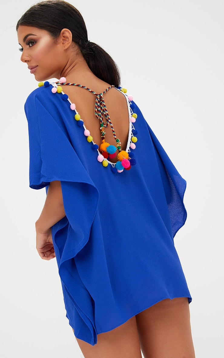 Blue Pompom Trim Beachwear Kimono 1