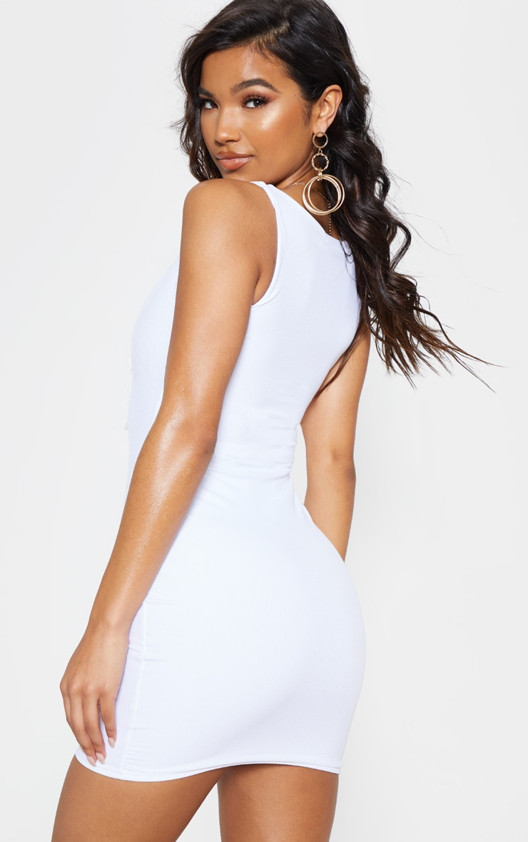 White Ribbed Tie Front Bodycon Dress 3