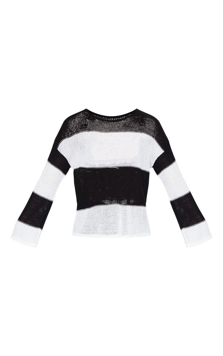 Black Fine Knit Stripe Jumper 5