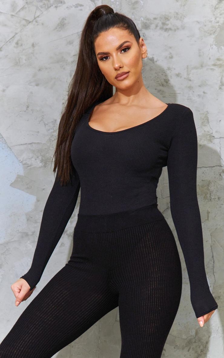 Tall Black Ribbed Shoulder Pad Long Sleeve Bodsysuit 1