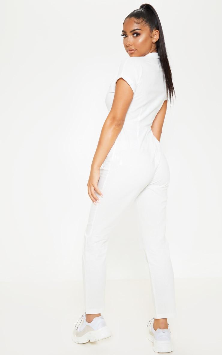 Petite White Short Sleeve Utility Jumpsuit 2