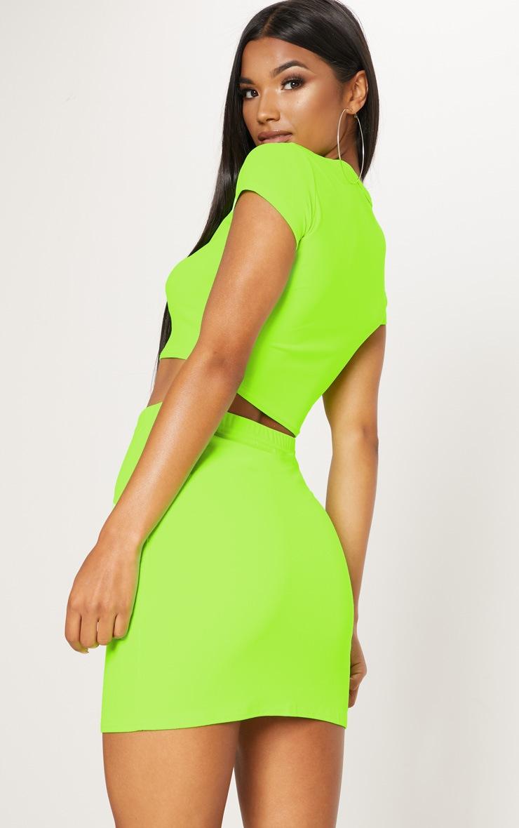 Lime Short Sleeve Crop T Shirt 2