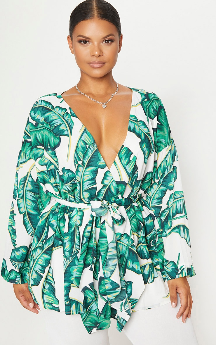 Plus  White Tropical Print Tie Waist Blouse 1
