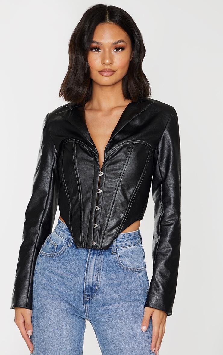 Veste en similicuir noir à partie style corset et ourlet pointu 1
