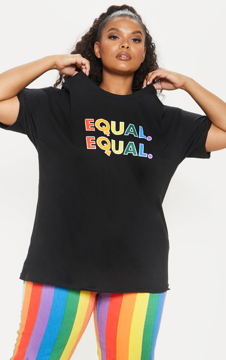 PLT Plus - T-shirt noir à slogan Equal 4