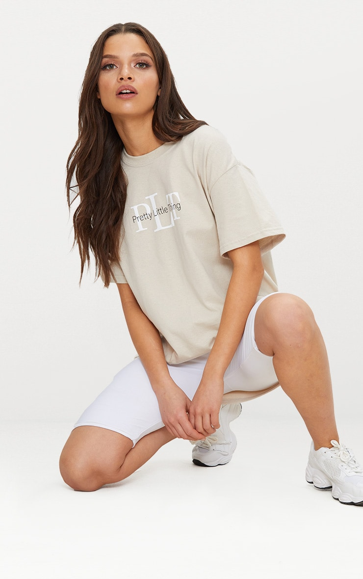PRETTYLITTLETHING Sand Oversized Slogan T Shirt 1