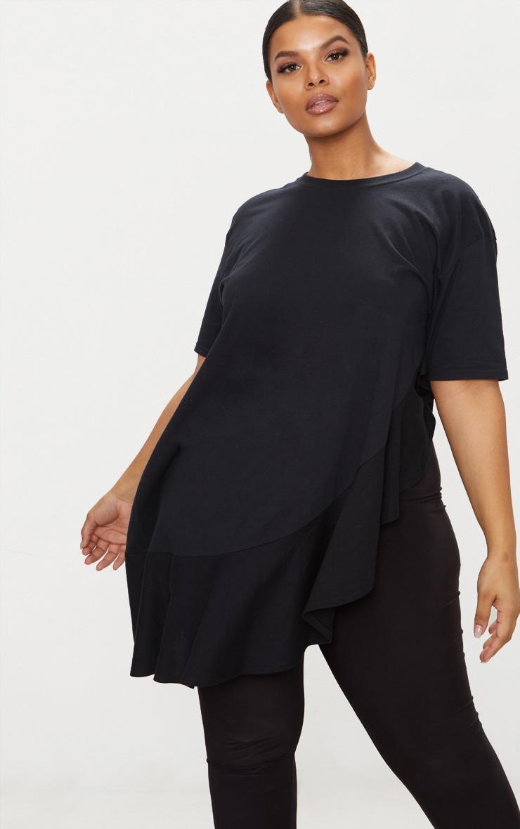 Plus Black Frill Detail Oversized T-Shirt 1
