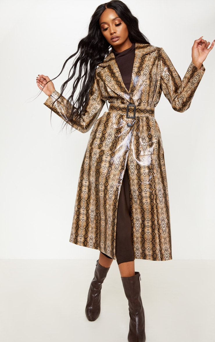 Snake Print Brown PU Trench