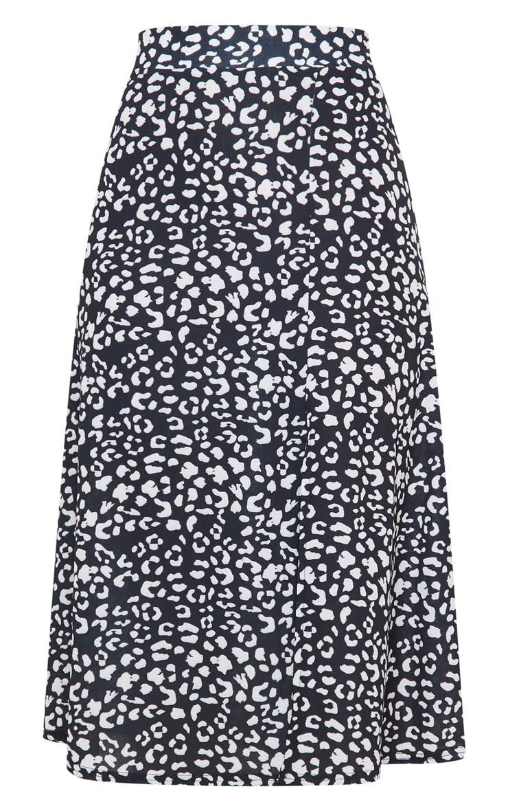 Black Leopard Print Floaty Midi Skirt 6