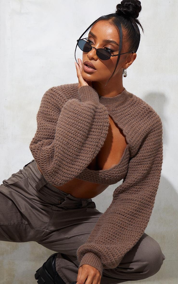 Mocha Stitch Detail Knitted Crop Top 1