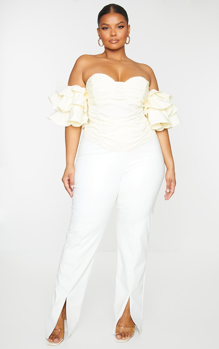 Plus Cream Ruffle Puff Sleeve Bardot Crop Top 1