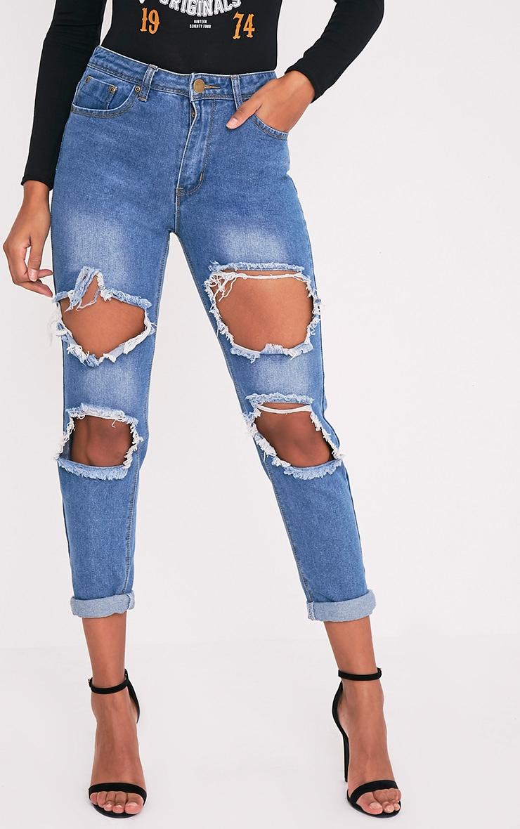 Kourtney jean déchiré taille mi-haute avec ouverture au genou délavage moyen 2