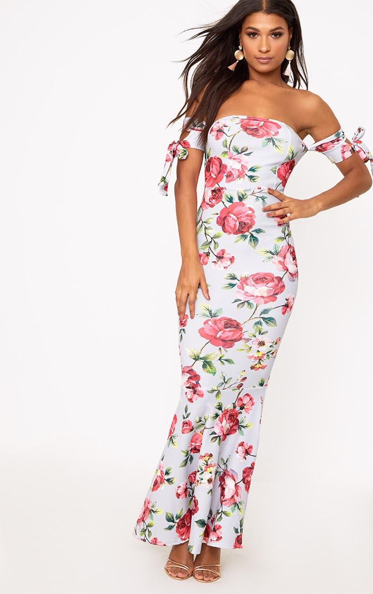 fa85bd4b23 Ice Grey Floral Tie Bardot Detail Maxi Dress. Dresses ...