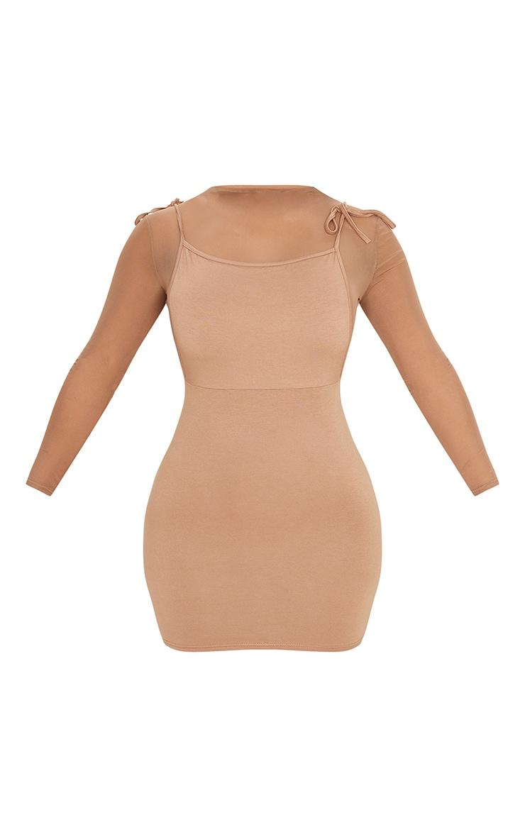 Camel Mesh Tie Shoulder Jersey Bodycon Dress 5
