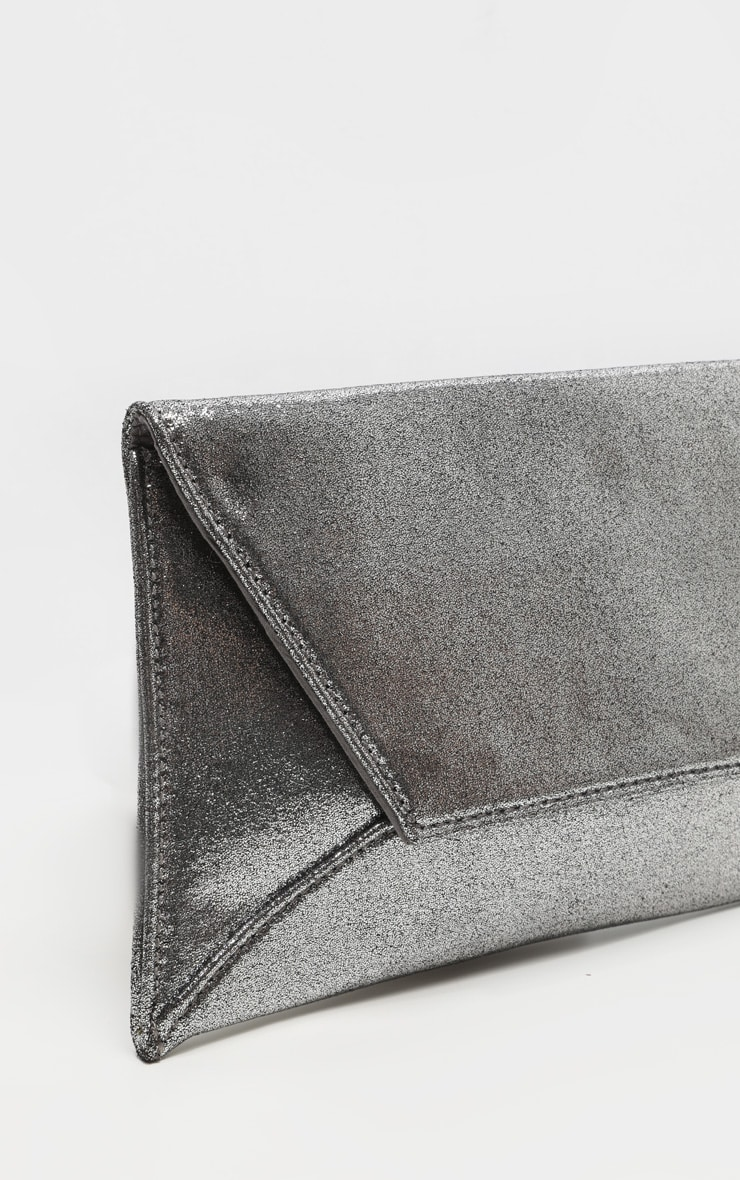 Pewter Shimmer Envelope Clutch Bag 4