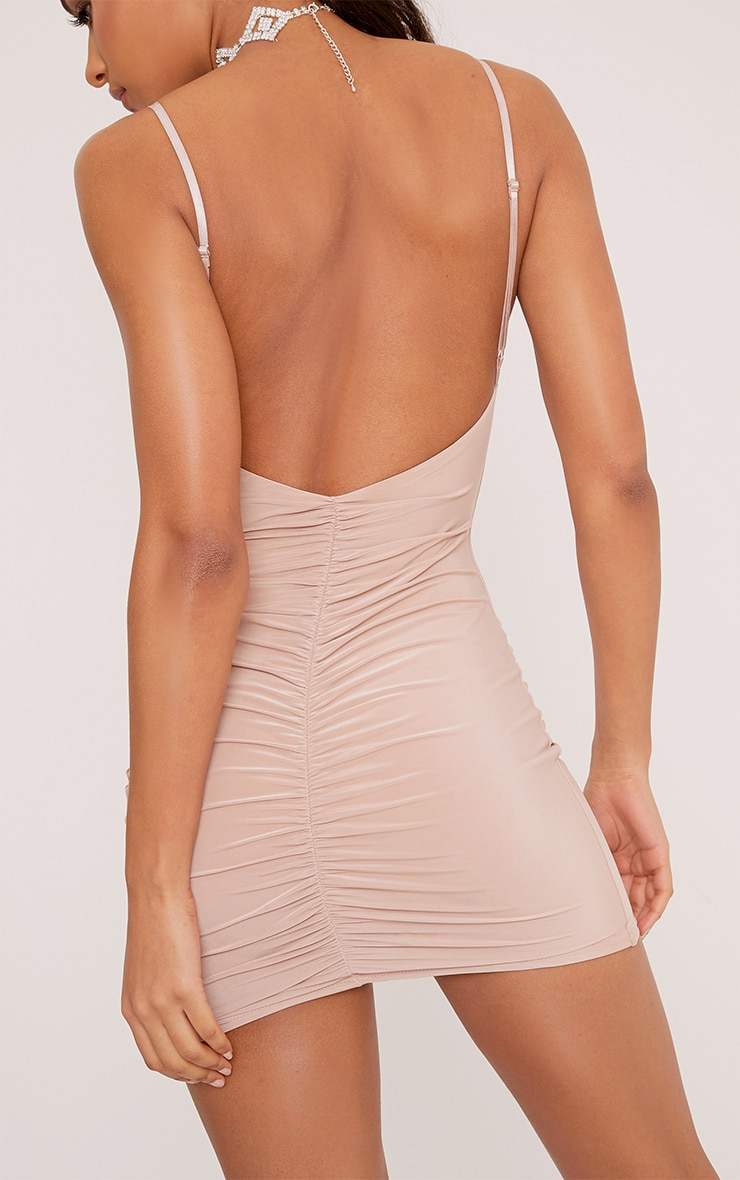 Evangeline Nude Slinky Ruched Plunge Bodycon Dress 5
