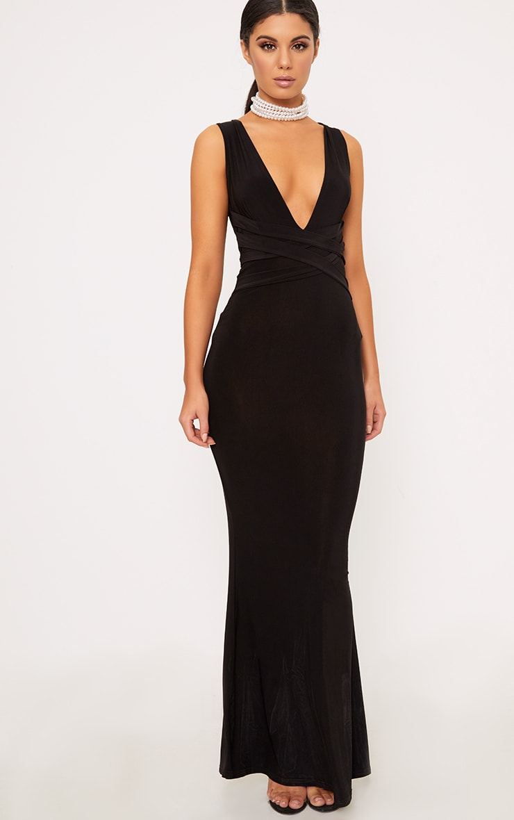 Maci Black Double Wrap Slinky Maxi Dress 1