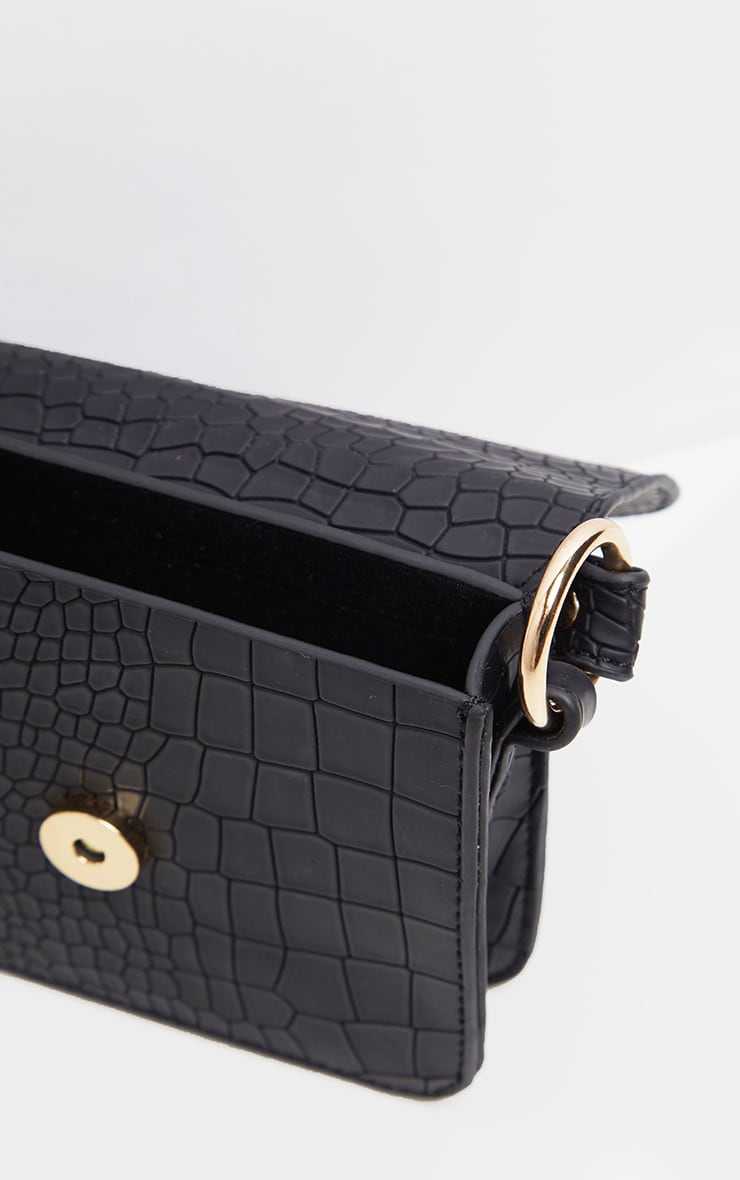 Black Croc Square Mini Bag 4