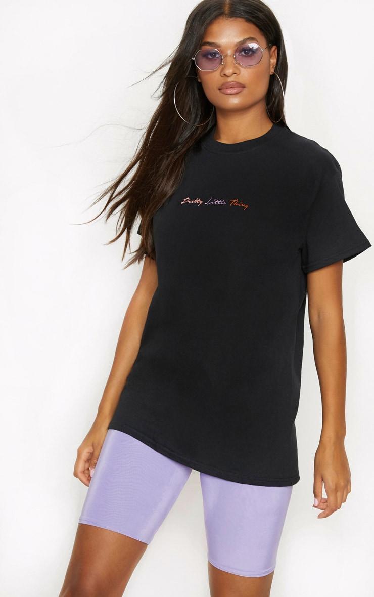PRETTYLITTLETHING Black Embroidered T Shirt 4