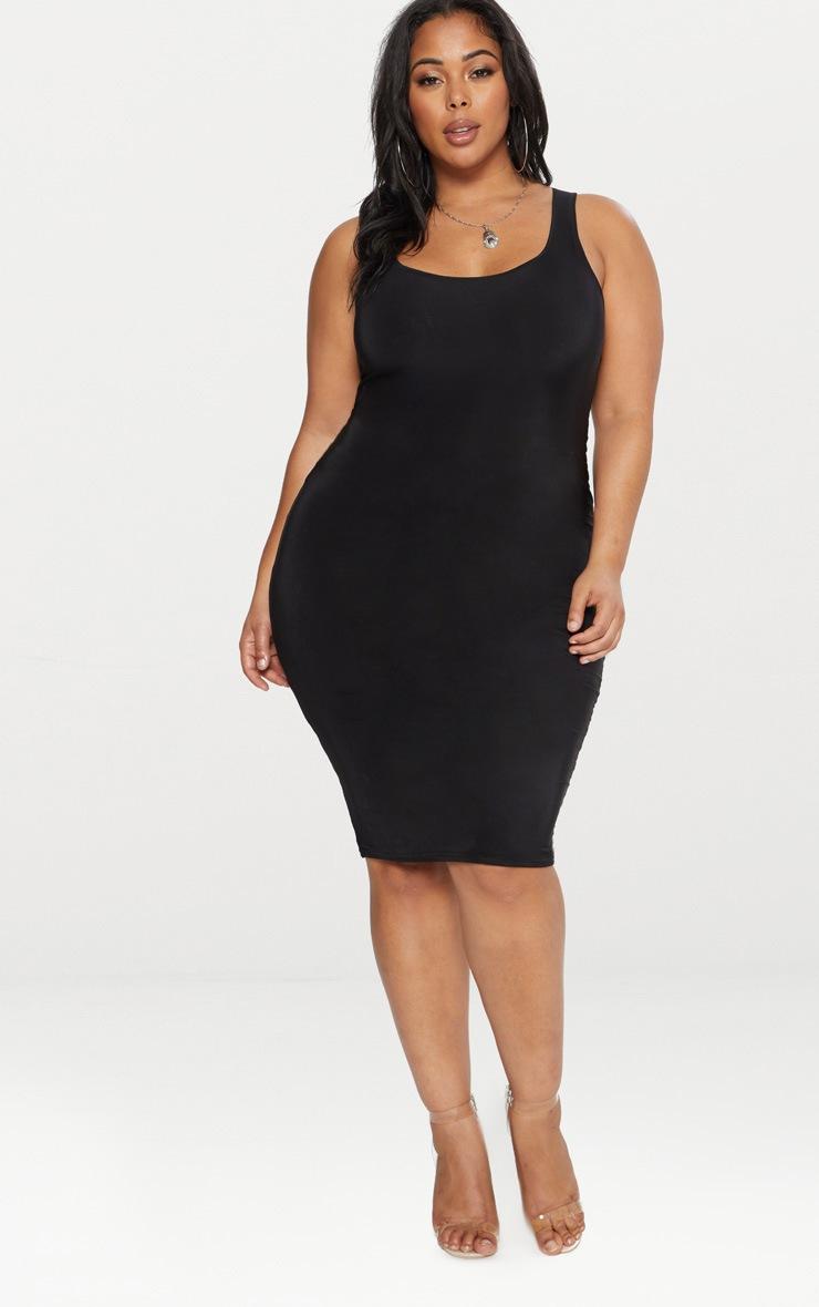Plus Black Second Skin Slinky Scoop Neck Midi Dress 4
