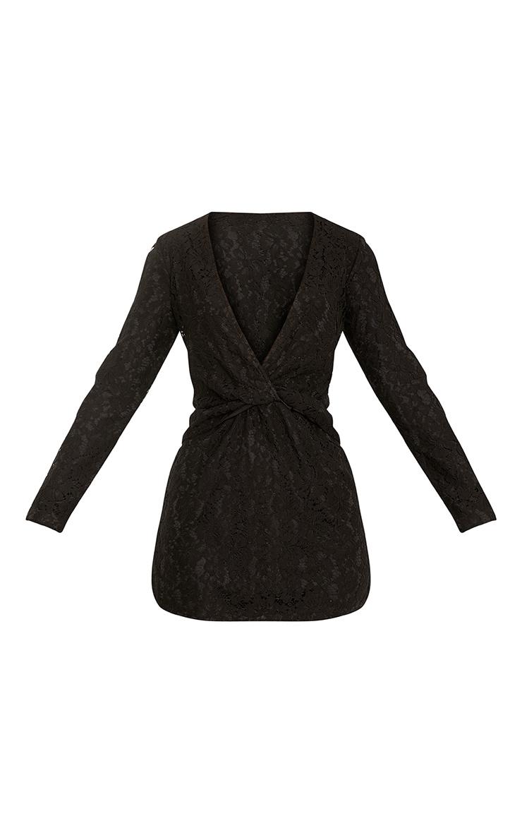 Dottie Black Lace Twist Front Shift Dress 3