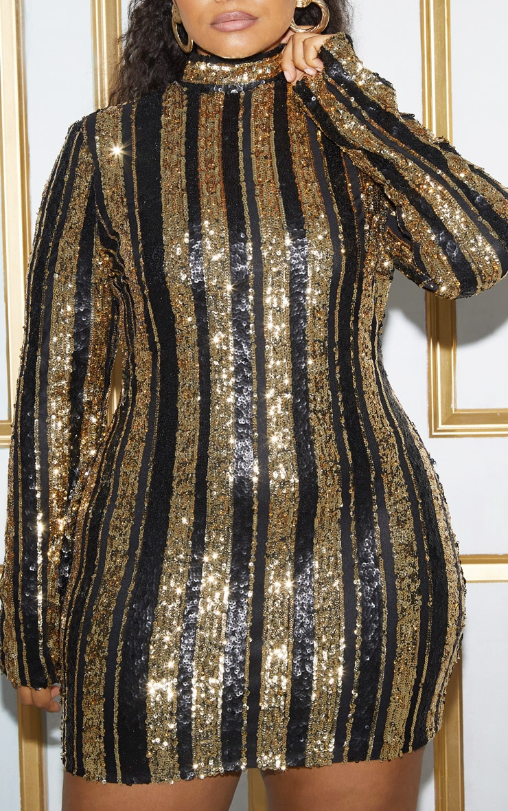 Plus Black Sequin Stripe Bodycon Dress 7
