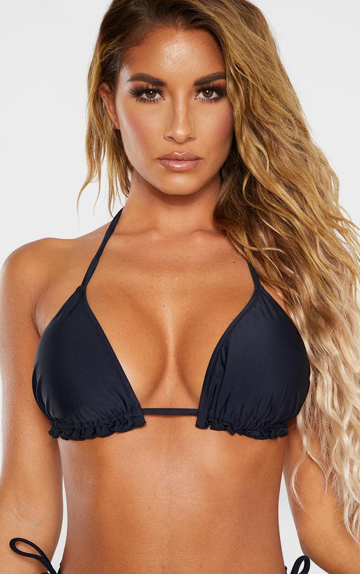 Black Frill Edge Padded Bikini Top 5