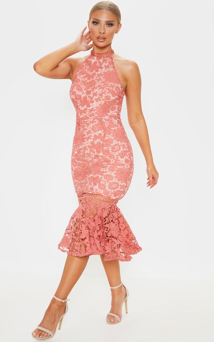 Rose Lace High Neck Flute Hem Midi Dress 1