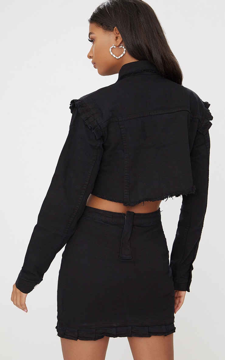 Black Ruffle Cropped Denim Jacket 2