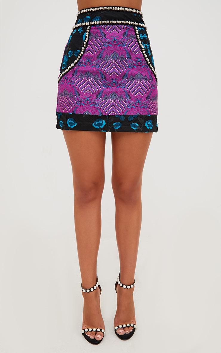 Premium Black Embroidered Jacquard Mini Skirt 3