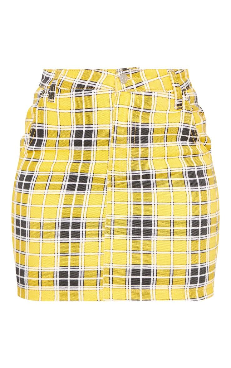 Yellow Checked Denim Skirt  3